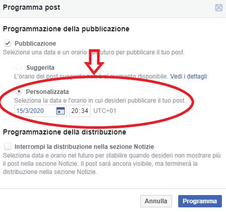 programmare post su fb